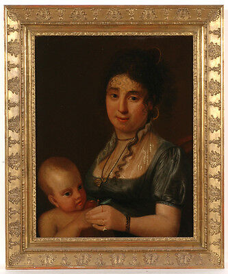 """""""Mother with Child"""", French School, ca.1810, Oil Painting"""