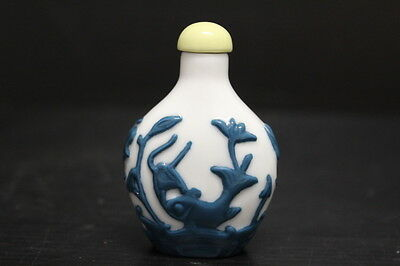 """Vintage Chinese Asian White & Blue Snuff Bottle Peking Glass, 2 3/4"""" Tall"""