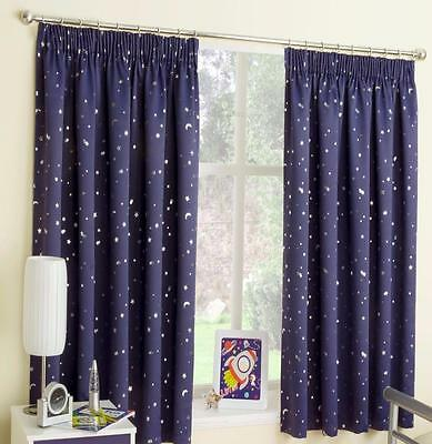 Navy Blue Moons and Stars Thermal Blackout Pencil Pleat  Ready Made Curtains