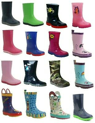 New Boys Girls Kids Size Snow Mud Rain Wellies Waterproof Wellington Boots Shoes