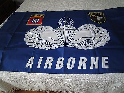 """""""AIRBORNE/Screaming Eagles"""" Flag!!! 3' x 5'- """"New""""Polyester with grommets"""