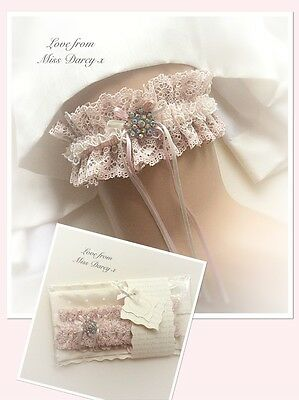 Garter Bridal Pink Nude Ivory Lace Personalised Wedding Miss Darcy Brides Hen