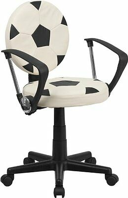 Flash Furniture BT-6177-SOC-A-GG Soccer Task Chair with Arms, Black/White