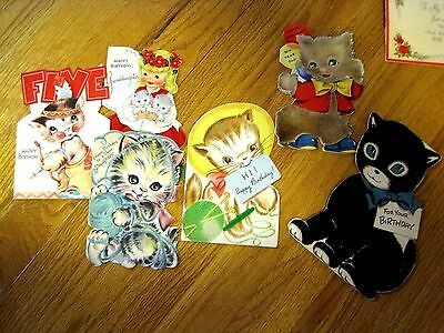 6 VINTAGE CHILDRENS BIRTHDAY CARDS WITH KITTENS all signed