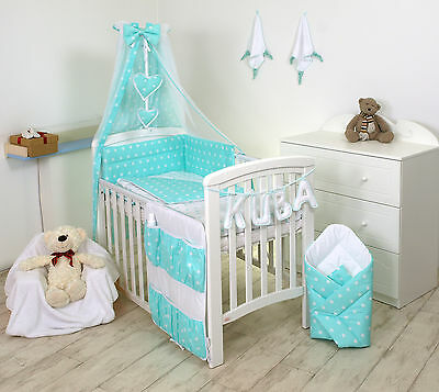 MINT STARS BABY BEDDING SET +MORE DESIGNS COT or COT BED 3,4,5,7 9 MULTIAUCTION