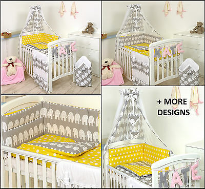 GREY ELEPHANT/YELLOW BABY BEDDING SET COT or COT BED MULTIAUCTION 3,4,5,7,8,9 PC