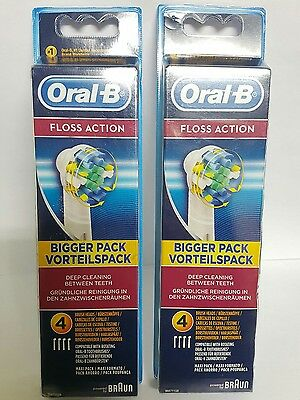 Oral B  Braun FLOSS ACTION  Electric Toothbrush 4 Brand New 4 X2  TOTAL 8