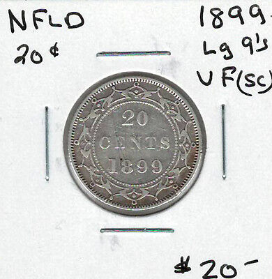 Canada Newfoundland NFLD 1899 20 Cents VF Large 9s Scratches