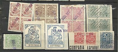 744-Lote Sellos Fiscales Bloques Fragmento Original.catalogo Alemany,spain Reven