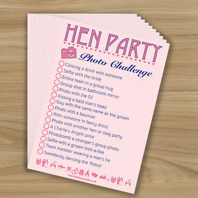 HEN PARTY SELFIE PHOTO CHALLENGE - Girls Night Out - Hen Night Game - 10 Player