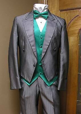 Silver Shadow Tuxedo Short Coat Adjustable Pants Vintage Steampunk Cosplay Tracy