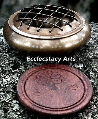 Honey Brass Screen Incense Burner with Coaster for Resin-Charcoal-Cone NEW {:-)