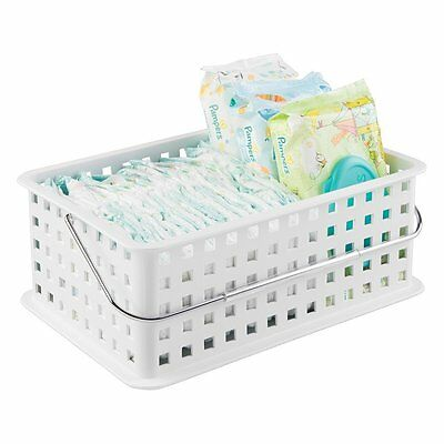 mDesign Baby Nursery Organizer Tote Basket for Diapers, Wipes, Towels - Medium,
