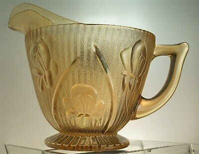 Vintage Jeanette Glass Iris & Herringbone Iridescent Footed Creamer
