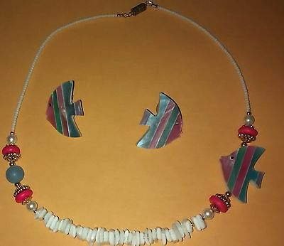 Vintage FISH Costume Necklace Earrings Set Rainbow Shell Aquatic Post PINK BLUE