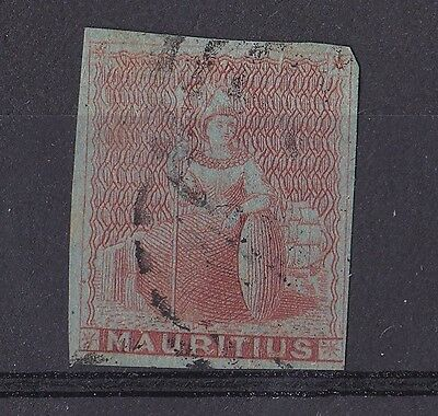 DB153) Mauritius 1858 - 60, 6d Vermilion on blued paper, SG 28