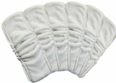 Waterproof Baby Cloth Diaper Liners 5 Layers Bamboo Insert Antibacterial 6 White