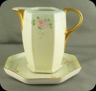 MZ Czechoslavia Altrohlau Hand Painted Creamer on Plate