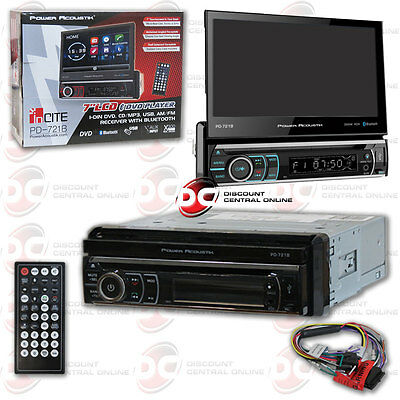 "Power Acoustik Pd-721B Din Car Bluetooth Stereo W/ Motorized 7"" Touchscreen Lcd"