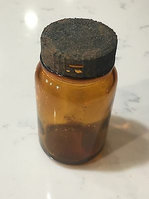 Old Brown Glass Medicine Bottle - With Cap - 6503-A