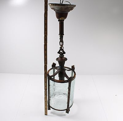 Antique Brass Hanging Ceiling Fixture with Etched Glass   Good Condition