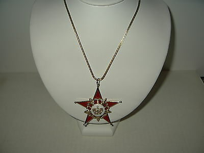 Vintage CORO Goldtone Red & White Enamel Star With Crown Pendant Necklace