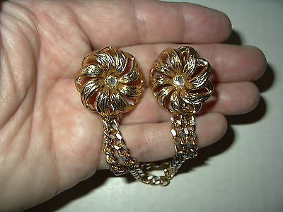 Vintage Goldtone & Crystal Flower & Double Chain Sweater & Dress Guard Clip Pins