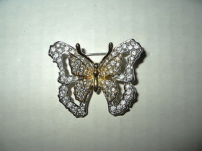 Vintage NOLAN MILLER 2 Tone Gold & Silver Clear Rhinestone Butterfly Brooch Pin