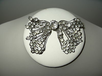 Vintage Art Deco Silvertone & Clear Rhinestone Abstract Bow Flexible Brooch Pin