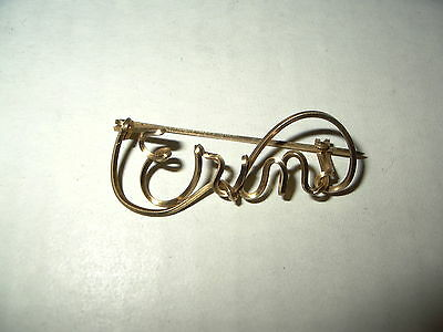 Vintage Victorian Goldtone GF Wire Name ERIN Brooch Pin