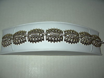 Vintage Signed MARBOUX Goldtone & Clear Rhinestone 7 Link High End Bracelet