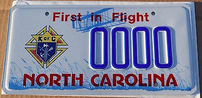 MINT North Carolina Sample Graphic License Plate; Special; Knights of Columbus
