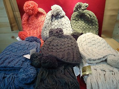 Woman's Winter Hat Scarf Combination Set Handmade Cable Knit with Pom Poms