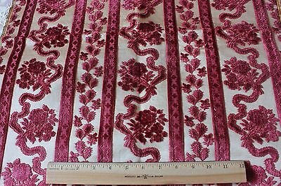 "French Antique 18thC Lyon Silk Cut Velvet Home Textile Fabric Sample~28""LX22""W"