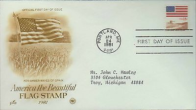 1981 - Fdc - America The Beautiful - Flag Stamp - Amber Waves Of Grain - 24 Apr