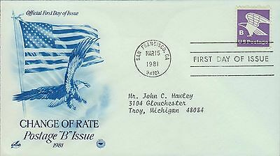 1981 - Fdc - Change Of Rate - Postage B Issue