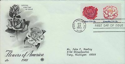 1981 - Fdc - Flowers Of America - Rose / Camellia