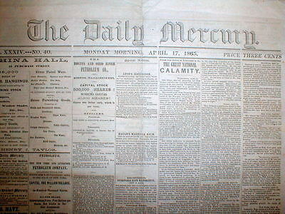 1865 New Bedford MA newspaper ABRAHAM LINCOLN ASSASSINATED by John Wilkes Booth