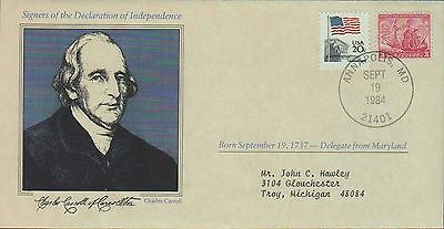 1984 - Us Cover Signers Declaration Of Independence Charles Carroll Annapolis Md