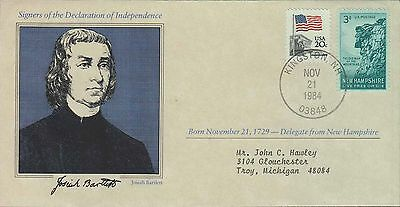 1984 - Us Cover Signers Declaration Of Independence Josiah Bartlett Kingston Nh