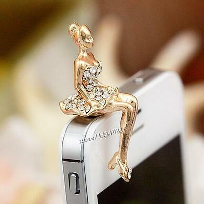 Beauty Lady Diamond Design 3.5mm Anti Dust Earphone Plug Cover For Cell Phone