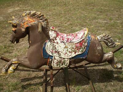 Collectable Vintage old Carosell style horse mounted on a steel rocking frame