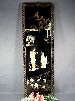 Vintage Oriental Black Lacquer Mother Of Pearl Shell Carved Wall Hanging