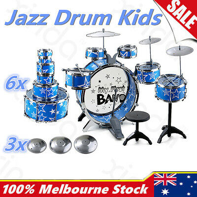 13Pc Kids Junior Jazz Drum Kit Musical Set Children Mini Big Band Play Music Toy