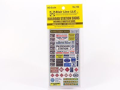 HO Railroad Station Signs Model Decals - Blair Line #156 vmf121