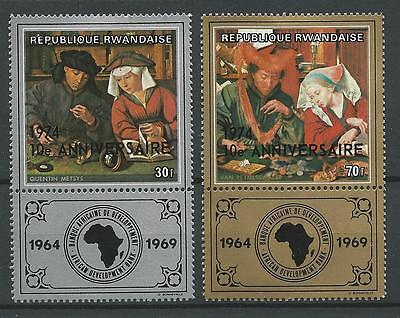 Rwanda 1974 Sc#612-3 The Moneylender And His Wife by Massys o/print w/label MLH