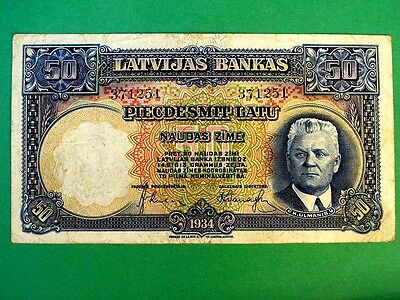 LATVIA 1934, 50 Lats Collectable Banknote.