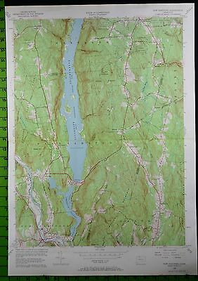 1956 Antique New Hartford Connecticut USGS Topographic Map 19x27 Inches