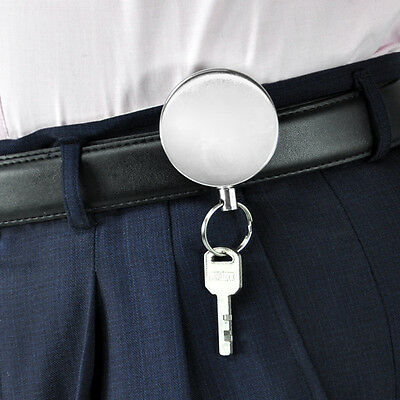 Stainless Steel Silver Retractable Key Chain Recoil Keyring Heavy Duty Cord Wire