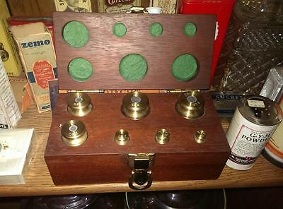 Drug Store Pharmacy Apothecary Scale Weight Set In Walnut Display Box
